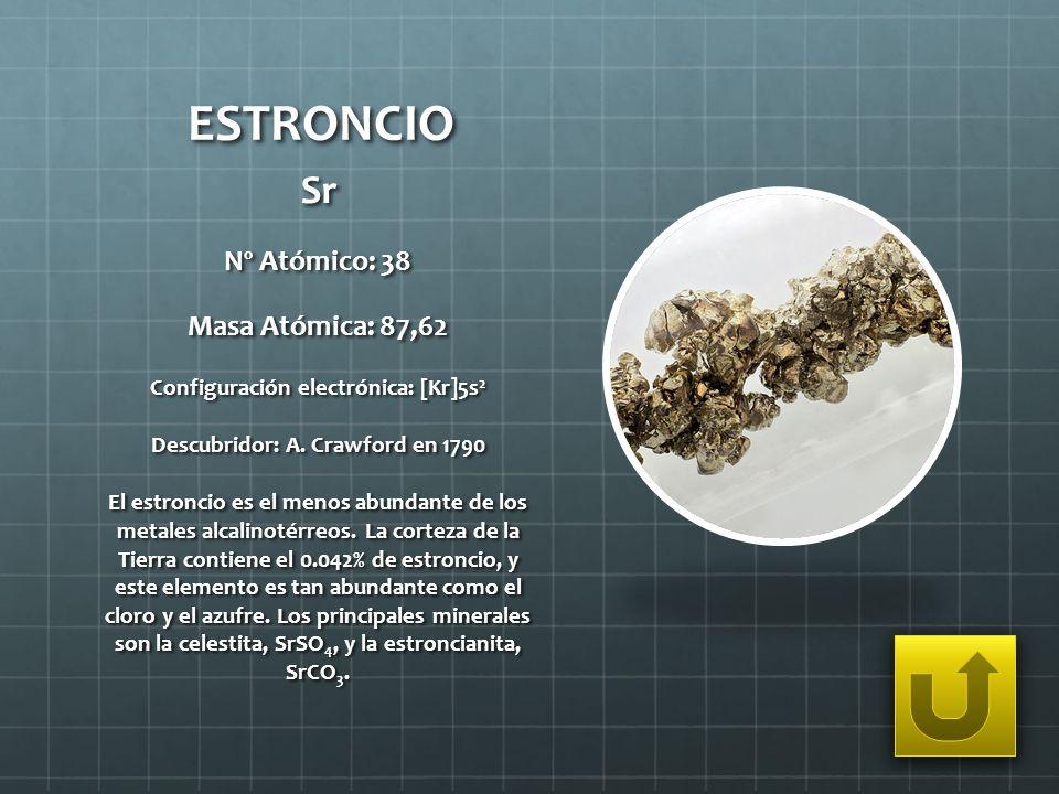 Configuración electrónica: [Kr]5s2 Descubridor: A. Crawford en 1790